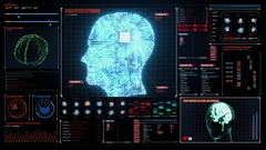 Brain head connected digital lines in digital display, artificial intelligence Stock Footage