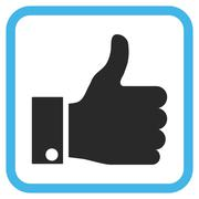 Thumb Up Glyph Icon In a Frame Stock Illustration