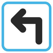 Turn Left Glyph Icon In a Frame Stock Illustration