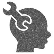 Brain Service Wrench Grainy Texture Icon Stock Illustration