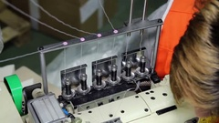 Industrial Sewing Machine Close Up Stock Footage