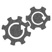 Gears Rotation Grainy Texture Icon Stock Illustration