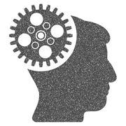Head Gearwheel Grainy Texture Icon Stock Illustration