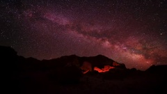 Starry Night over the canyon Bayanzag, Mongolia. Full HD Stock Footage