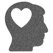 Love Heart Think Grainy Texture Icon Stock Illustration