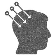 Neural Interface Connectors Grainy Texture Icon Stock Illustration
