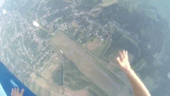 Paratrooper jumps out of a plane,  first-person view Stock Footage
