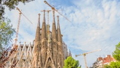 Art Nouveau church Sagarada Familia Barcelona Stock Footage