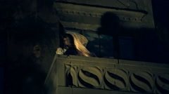 The scene on the balcony, revived corpse bride on the night of Halloween Stock Footage