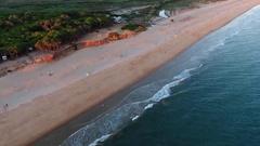 Aerial view of Praia da Alagoa, Quarteira flight Stock Footage