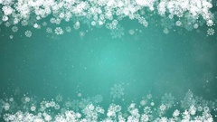 Christmas Frame on Green Background. Winter Card with Snowflakes, Stars, Snow. Stock Footage