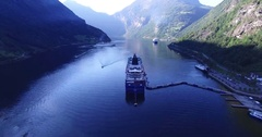 Aerial view of geiranger fjord with cruise Stock Footage