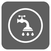 Shower Tap Flat Squared Glyph Icon Stock Illustration