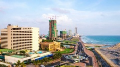 Aerial view of Colombo, Sri Lanka. Time-lapse in the evening Stock Footage