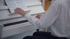 Professional Musician Playing White Piano Stock Footage