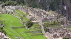 PERU MACHU PICCHU ANCIENT INCA ARCHITECTURAL RUINS WORLD HERITAGE SITE Stock Footage