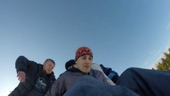 Winter activities. 	Snow tubing . High speed . Stock Footage
