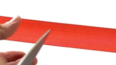 Grand opening - scissors cutting red ribbon Stock Footage