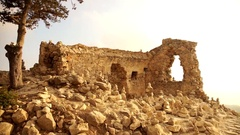 Ruins of Monolithos Caste with sunset. Island of Rhodes Stock Footage