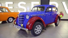 Moskvich 401 Exhibition of vintage cars in the shopping mall. Stock Footage