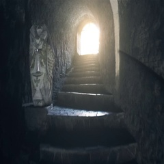 Walking through Tunel with Stairs and Light at the End Stock Footage