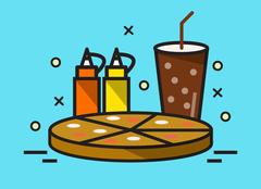 Pizza and Cola drink. Stock Illustration