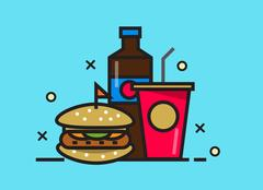 Burger and cola drink. fast food meal. Stock Illustration