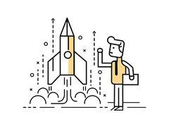 Rocket startup, Businessman control space shuttle. Stock Illustration