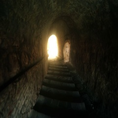 Walking through Mistery Grunge Tunel with Stairs and Light at the End Stock Footage