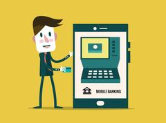 Money transaction, technology, business, mobile banking and mobile payment. Stock Illustration