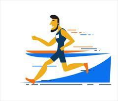Professional man running on the running track. Stock Illustration