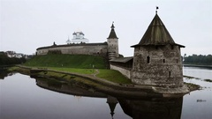 Pskov Kremlin in the cloudy morning. Time-lapse of water Stock Footage