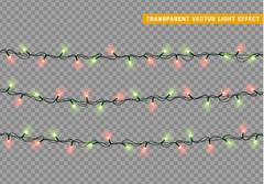 Garlands, Christmas decorations lights effects. Stock Illustration