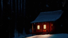 Snow night in the mountain - winter house Stock Footage