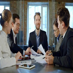 Team of young professionals enjoy a laughter together. Slow motion. Stock Footage