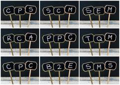 Photo collage of business acronyms written with chalk on wooden mini blackboa Stock Photos