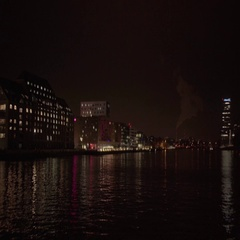 Berlin View from Oberbaum Bridge at Night 4K Stock Footage
