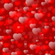 Seamless pattern with fuzzy hearts on red background. Vector illustration Stock Illustration