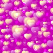 Hearts seamless pattern. Colorful fluffy hearts on pink purple background. Love Stock Illustration