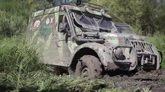 Gaz69 offroad in mud Stock Footage