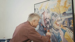 Old painter draws the crying woman and man on the Kyiv's area in 4K Stock Footage