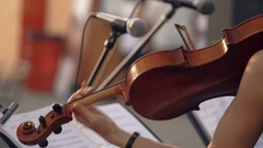Girl playing the violin in the day, violinist is a professional musician Stock Footage