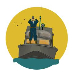 The border guard in the boat Stock Illustration