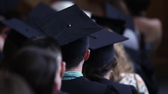 Successful young man graduating from university, waiting to receive diploma Stock Footage