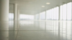 4K Interior view of large empty modern property with panoramic view. No people.  Stock Footage