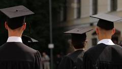 University graduates nervous before diploma awarding ceremony, higher education Stock Footage