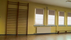Empty stage in school hall Stock Footage