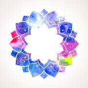 Watercolor flower oriental frame vector Stock Illustration