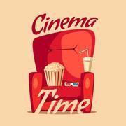 Cinema Time. Home movie watching. Cartoon vector illustration Stock Illustration