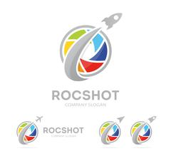 Vector of rocket and camera shutter logo combination. Airplane and photography Stock Illustration